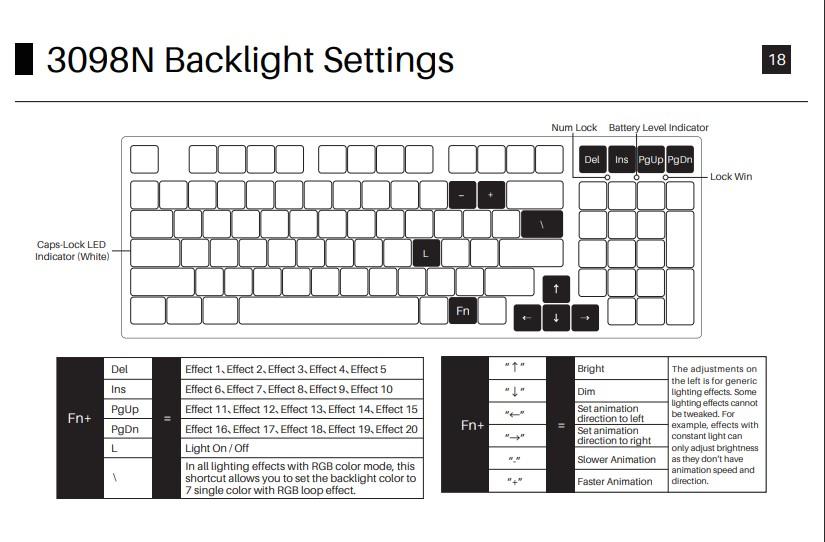 AKKO 3098N Backlight Settings